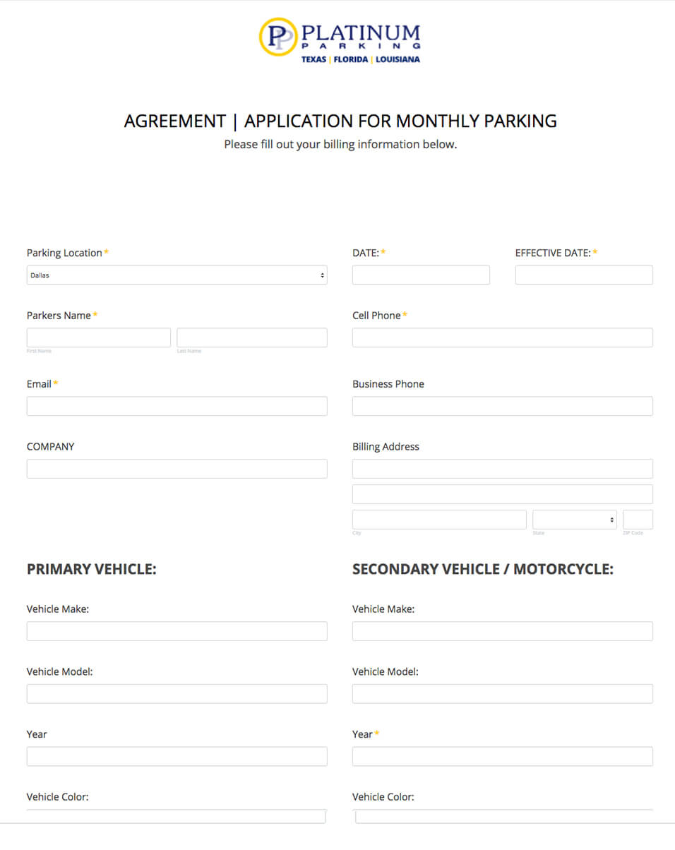 Forms0000ppmonthly Park Agreement Platinum Parking